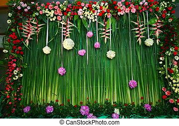 fleurs, toile de fond, arrangement