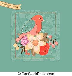 fleurs, ton, stylique oiseau
