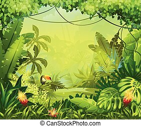 fleurs, toucan, jungle, llustration