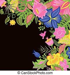 fleurs tropicales, fond