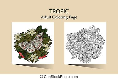 fleurs tropicales, ornement, rond