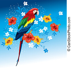 fleurs tropicales, perroquet