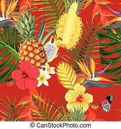 fleurs tropicales, seamless, fruit