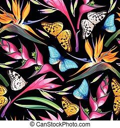 fleurs tropicales, seamless