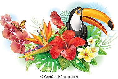 fleurs tropicales, toucan, hibiscus, rouges