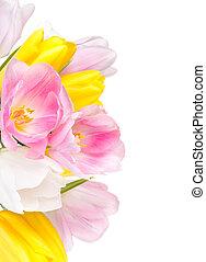 fleurs, tulipes, bouquet, beau