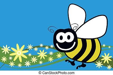 fleurs, vecteur, abeille