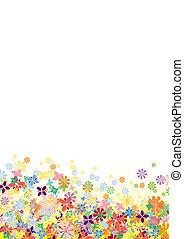 fleurs, vecteur, dessous