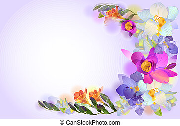 fleurs, vecteur, freesia, carte, branche