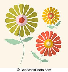 fleurs, vecteur, retro, illustration, gerbera