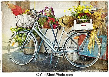 fleurs, vendange, carte, vélo