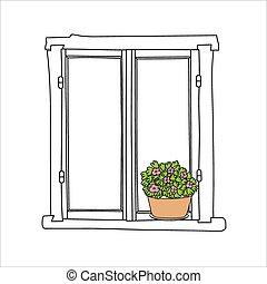 fleurs, vendange, fenêtre