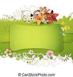 fleurs, vert, fond