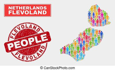 Flevoland Province Map Population People and Corroded Seal...