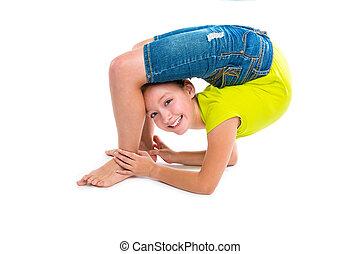 flexível, contorcionista, criança, menina, tocando, branco