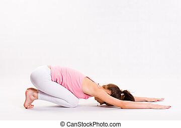 flexível, jovem, ioga, girl.