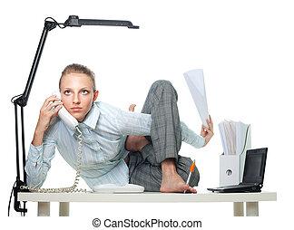 flexível, mulher, em, escritório