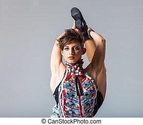 flexível, mulher, jovem