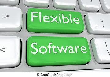 flexível, software, conceito
