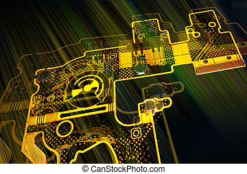 Abstract background with modern flexibil electronic board .