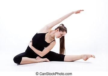 flexibel, frau