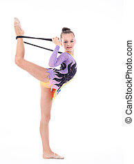 flexibel, m�dchen, hintergrund, schöne , weißes, aus, turner