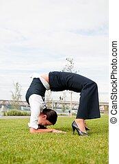 flexibilidad, mujer, -, empresa / negocio, aire libre