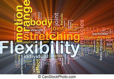 flexibilité, concept, incandescent, fond