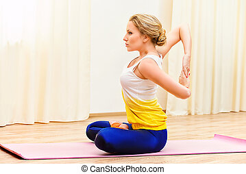 flexibility portrait of young flexible girl doing