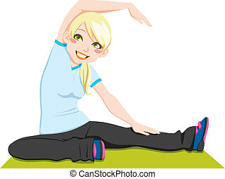 Gorgeous blond girl exercising flexibility with stretching posture