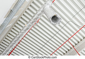 Flexible air conditioning and fire fighting system is placed on the ceiling.