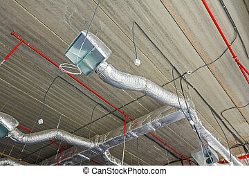 Flexible air conditioning and fire fighting system on the ceiling.