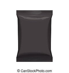 Flexible bag of Foil in Black color. Food snack pillow Realistic package.