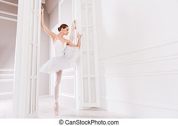 Flexible ballerina posing in dancing class