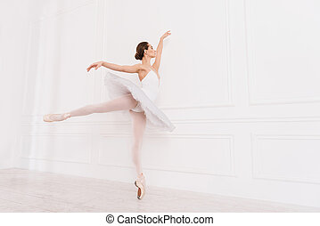 Flexible ballerina posing on tiptoes