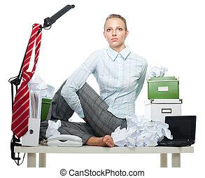Flexible business woman in office