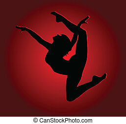 Flexible dancing girl in a high jump