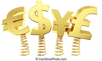 Flexible exchange rates - Golden currency symbols jumping on...