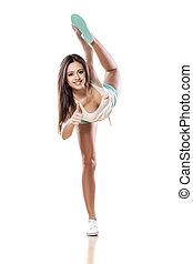 flexible, femme, jeune