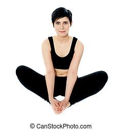 flexible, femme, yoga