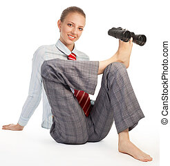 Flexible HR - Business woman sitting in flexible pose and...
