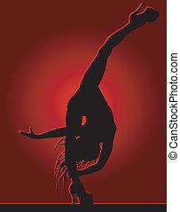 flexible, niña, bailando