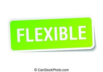 flexible, pegatina, cuadrado, blanco