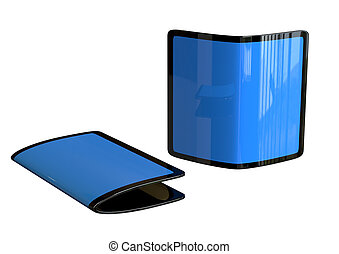 Flexible smartphone, new trend of handsets with futuristic design isolated on white background