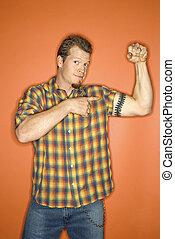 flexionar, muscle., homem