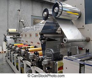 flexo, bezig met afdrukken van, machine