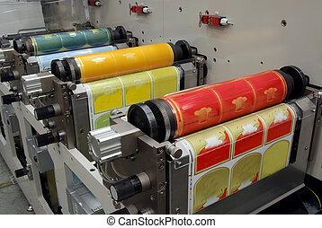 flexo, imprimindo, máquina