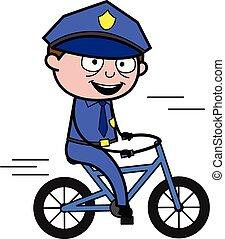 flic, cyclisme, policier, -, illustration, vecteur, retro