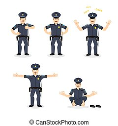 flic, différent, ensemble, police, angry., policier, motion., agent police, cheerful., poses., bon, emotions., découragé, figure, expression, homme
