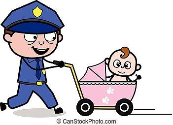 flic, marche, policier, -, illustration, vecteur, retro, bébé, landau